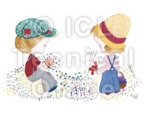 刺繍デザイン画像003:少年と少女のポルカ