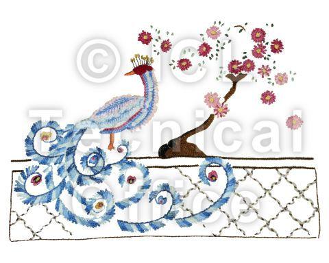 刺繍デザイン画像202:恋ダンスをする孔雀