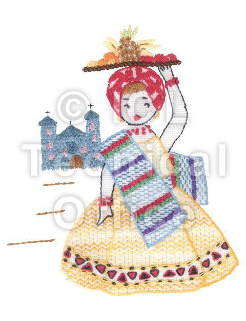 刺繍デザイン画像302:バナナ売りのアマンダ(ブラジル)