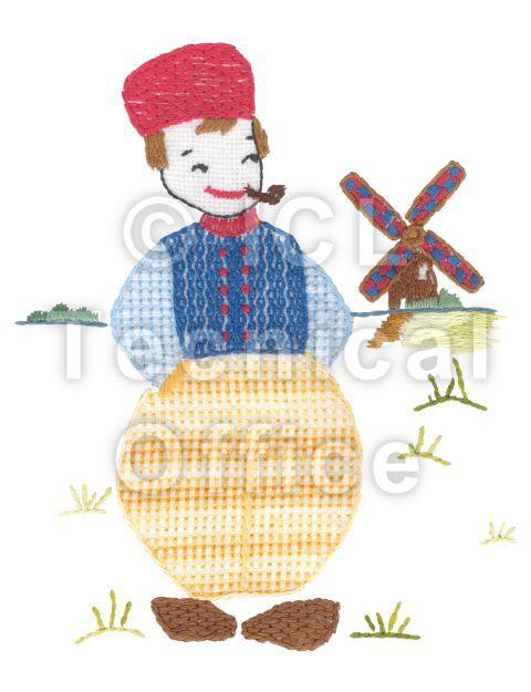 刺繍デザイン画像303:有機農業に取り組むジャン(オランダ)