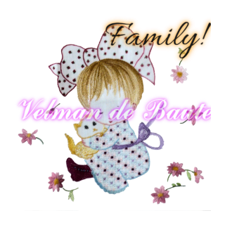 Embroidery sticker; Julia and her pet cat Charlie