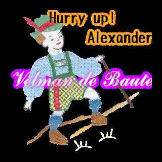 Embroidery sticker; Alexander climbing a mountain