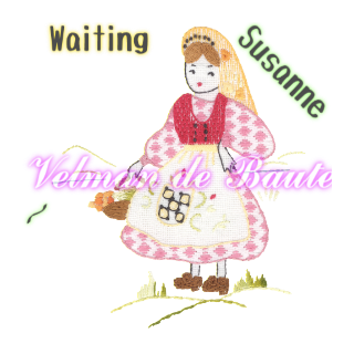 Embroidery sticker; Susanne of the Alps waiting for him