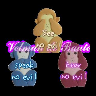 Japanese style sticker; See no evil, hear no evil, speak no evil