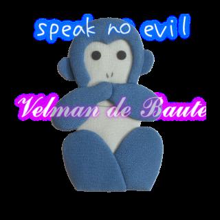 Japanese style sticker; speak no evil
