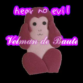 Japanese style sticker; hear no evil