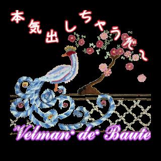フランス刺繍デコメ 美しき孔雀