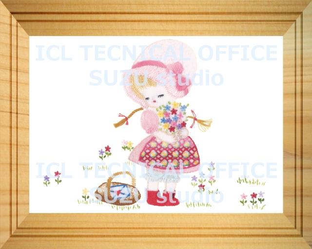 刺繍デザイン画像001:花を摘むアリスの額