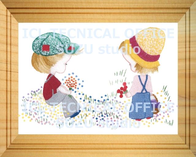 刺繍デザイン画像003:少年と少女のポルカの額