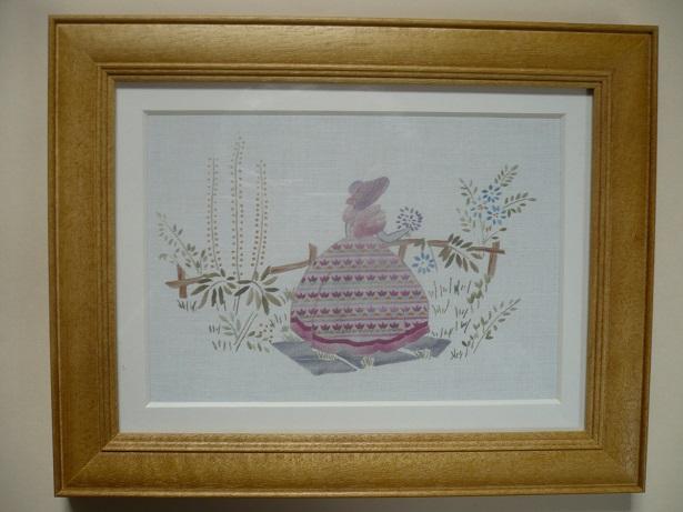 刺繍デザインプリント004:園遊会の麗人 ピンク系の額