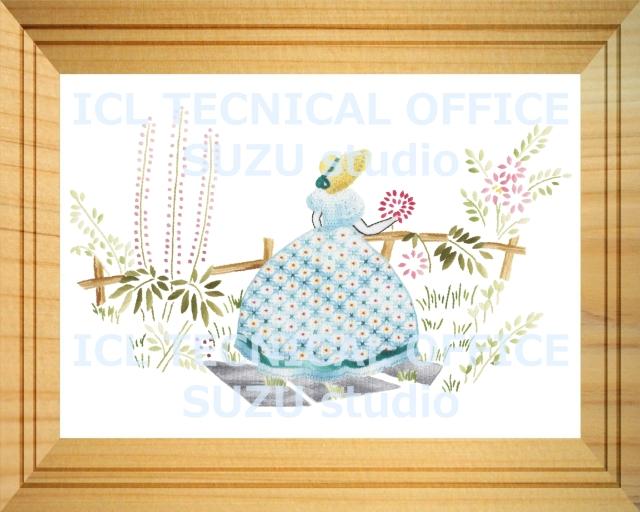 刺繍デザイン画像005:園遊会の麗人 ブルー系の額