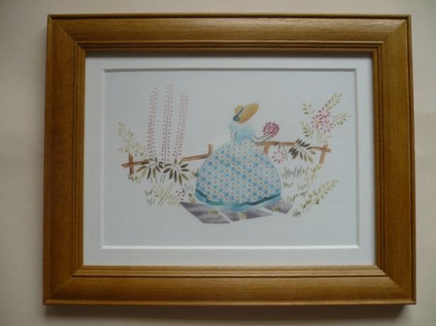 刺繍デザインプリント005:園遊会の麗人 ブルー系の額