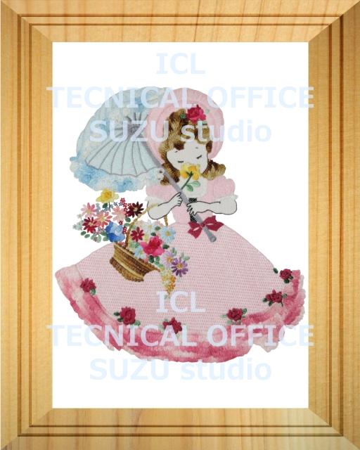 刺繍デザイン画像006:花を嗅ぐオリヴィアの額