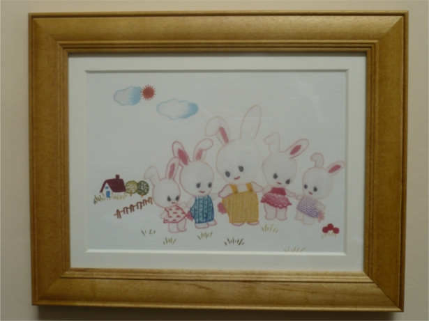 刺繍デザインプリント201:ウサギのキディヤードの額