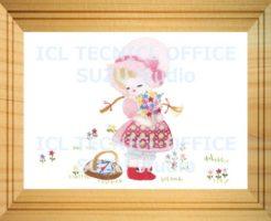刺繍デザインプリント001:花を摘むアリス
