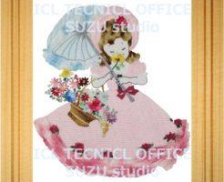 刺繍デザインプリント006:花を嗅ぐオリビア