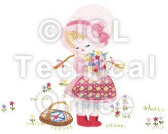 刺繍デザイン画像001:花を摘むアリス