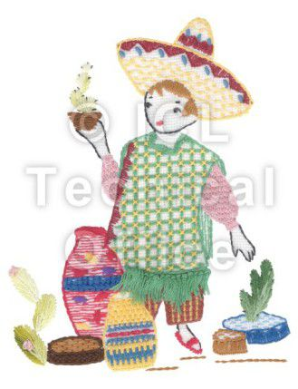 刺繍デザイン画像301:サボテン売りのダニエル(メキシコ)
