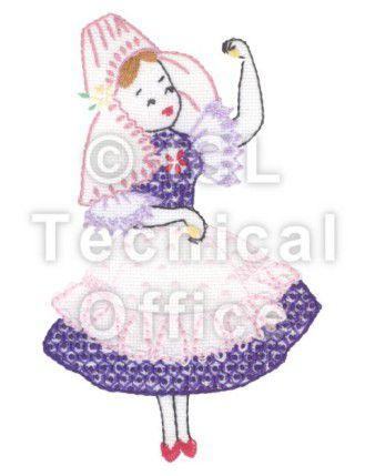 刺繍デザイン画像304:民族舞踊を踊るナタリア(ポーランド)