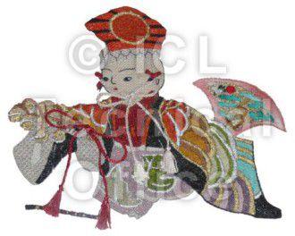刺繍デザイン画像601:狂言を舞う童