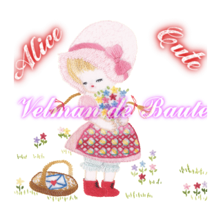 Embroidery sticker; Alice picking flowers