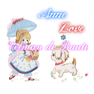 Embroidery sticker; Anne and her pet dog Laplace