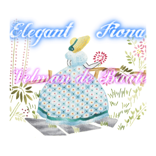 Embroidery sticker; The garden party's beautiful Fiona(blue)