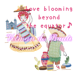 Embroidery sticker; Love blooming beyond the equator