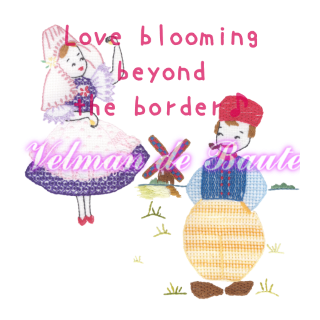 Embroidery sticker; Love blooming beyond the border