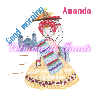 Embroidery sticker; Amanda selling bananas