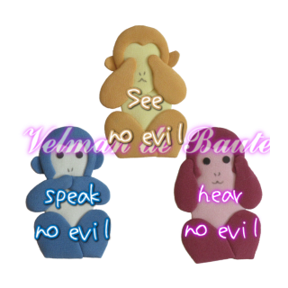 Japanese style sticker; See no evil, hear no evil, speak no evil