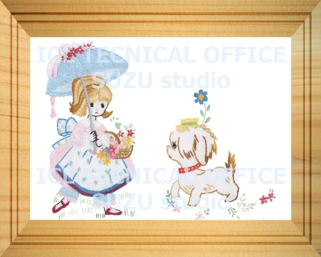 刺繍デザイン画像002:アンと愛犬ラプラスの額
