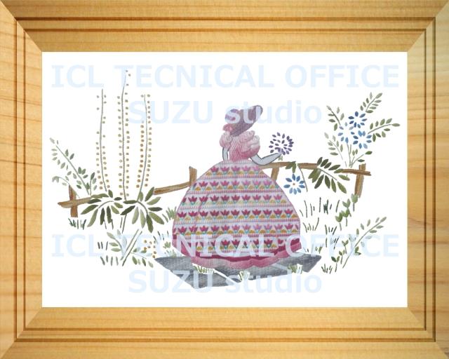 刺繍デザイン画像004:園遊会の麗人ダイアナ(ピンク系)の額