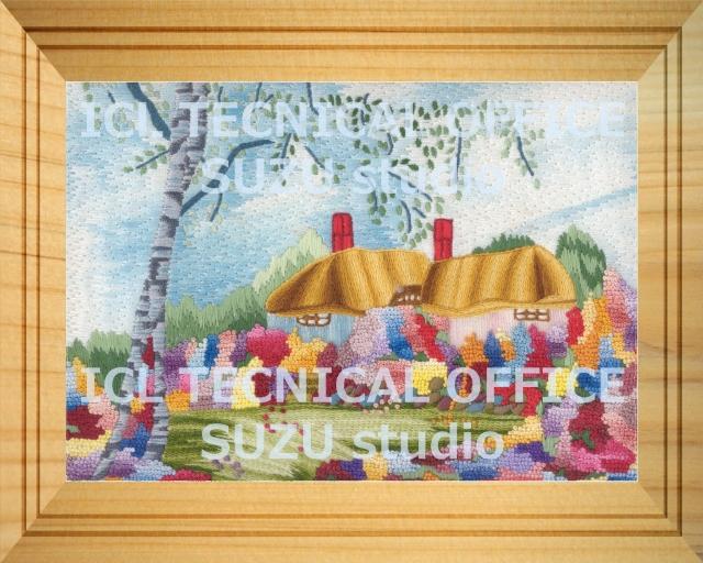 刺繍デザイン画像101:オランダの田園風景額