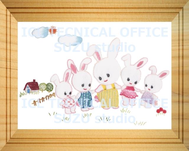 刺繍デザイン画像201:ウサギのキディヤードの額
