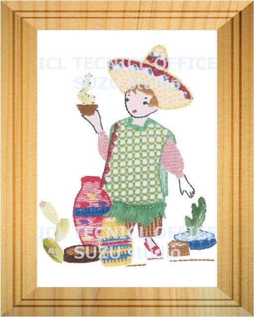 刺繍デザイン画像301:サボテン売りのダニエルの額