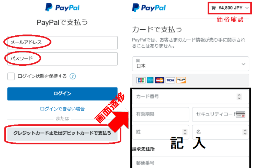 クレジット決済(paypal)画面での決済