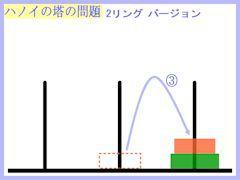 ハノイの塔:2リング最短第3操作