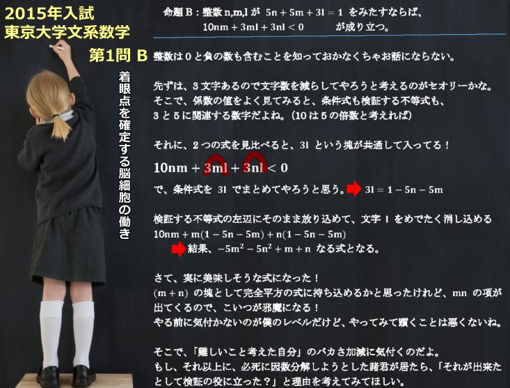2015年 東京大学文系数学(前期)第1問B 着眼点・方針を確定する脳