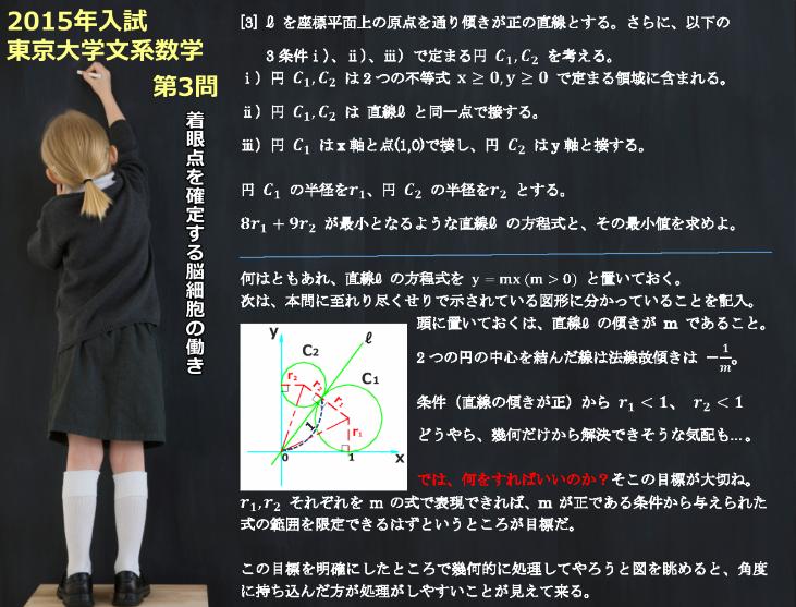 2015年 東京大学文系数学(前期)第3問 着眼点・方針を確定する脳