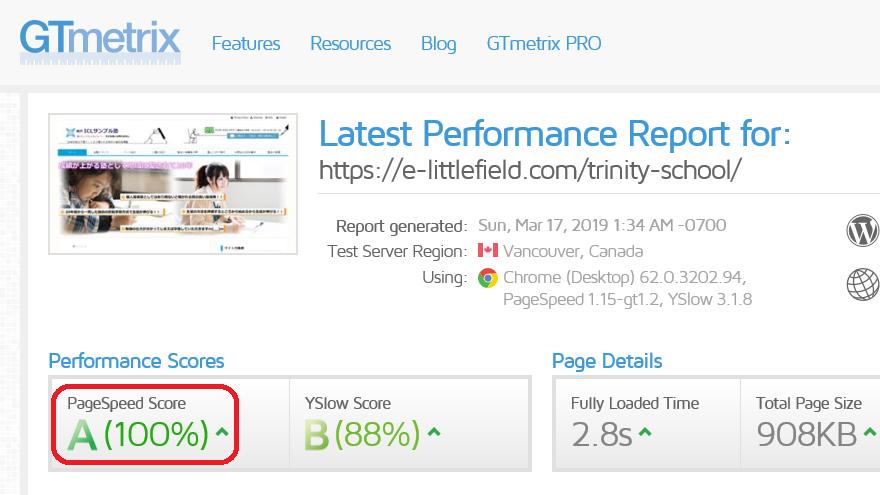 gtmetrix サイトスピード評価