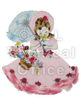 刺繍デザイン画像006:花を嗅ぐオリヴィア