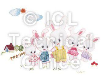 刺繍デザイン画像201:ウサギのキディーヤード