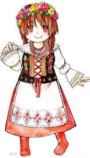 ポーランド/ルブリン地方の民族衣装イラスト