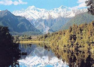 MT.Tasman and MT.Cook from Lake Matheson